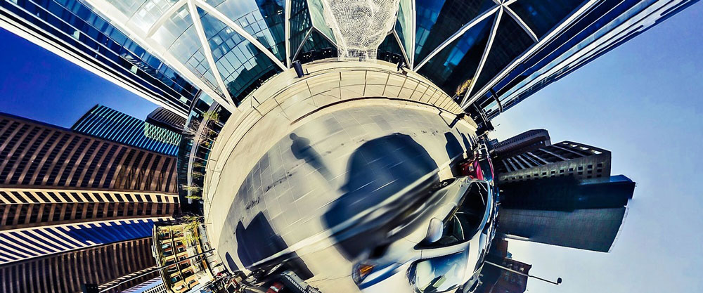 Stock photo: fish bowl lens image of a city street.